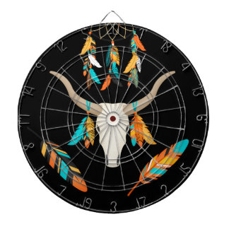 Bull Horns Tribal Indian Symbol Dart Board