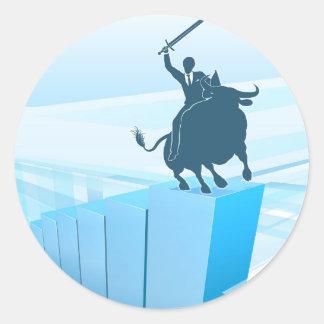 Bull Market Business Success Concept Classic Round Sticker