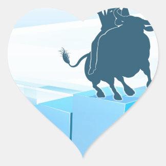 Bull Market Business Success Concept Heart Sticker