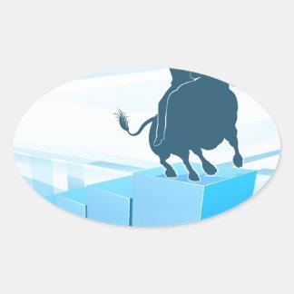 Bull Market Business Success Concept Oval Sticker