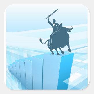 Bull Market Business Success Concept Square Sticker