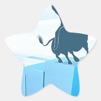 Bull Market Business Success Concept Star Sticker