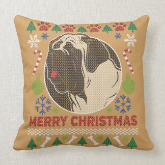 Bull Mastiff Merry Christmas Ugly Sweater Throw Pillow