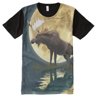 Bull Moose and a Full Moon Wildlife Art