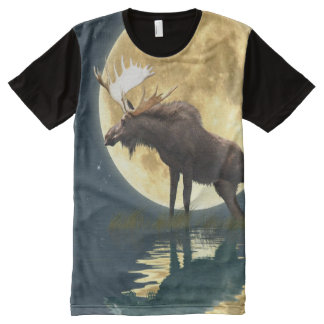 Bull Moose and a Full Moon Wildlife Art All-Over-Print T-Shirt