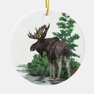 Bull moose art ceramic ornament