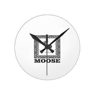 bull moose in a box round clock