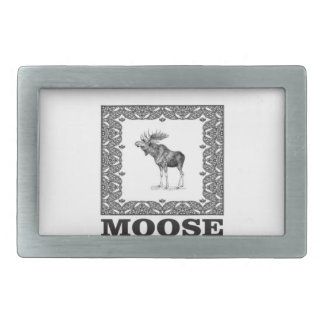 bull moose in a frame rectangular belt buckle