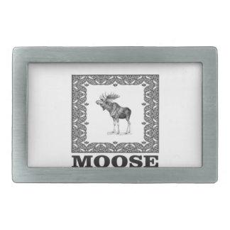 bull moose in a frame rectangular belt buckles