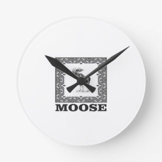 bull moose in a frame round clock