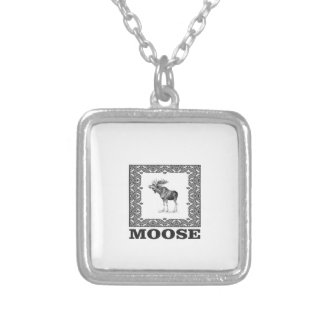 bull moose in a frame silver plated necklace