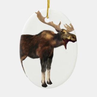 Bull Moose Looking Left Ceramic Oval Ornament