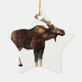 Bull Moose Looking Left Ceramic Star Ornament