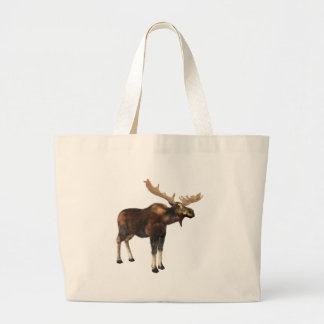 Bull Moose Looking Left Large Tote Bag