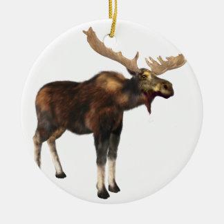 Bull Moose Looking Left Round Ceramic Ornament