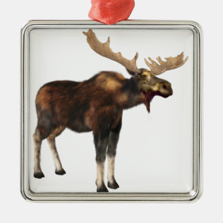 Bull Moose Looking Left Silver-Colored Square Ornament