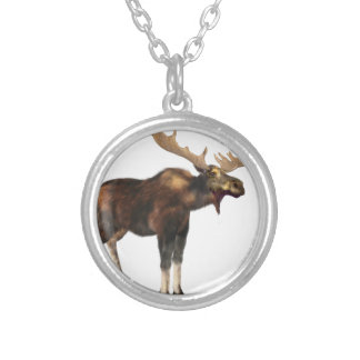 Bull Moose Looking Left Silver Plated Necklace