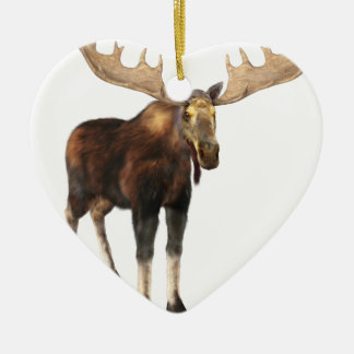 Bull Moose Looking to the Front Ceramic Heart Ornament