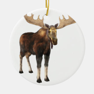 Bull Moose Looking to the Front Round Ceramic Ornament