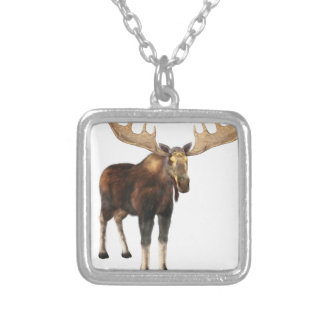 Bull Moose Looking to the Front Silver Plated Necklace