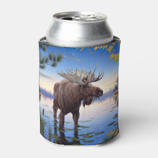 Bull Moose Mountain River Scene Can Cooler