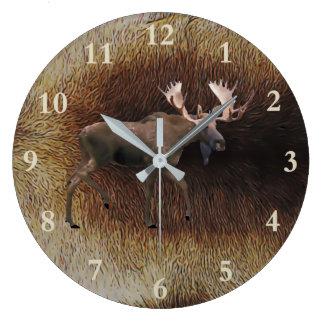 Bull Moose On Caribou Fur Large Clock