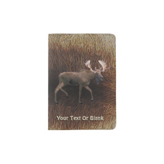 Bull Moose On Caribou Fur Passport Holder