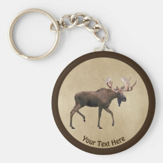 Bull Moose On Old Paper Keychain