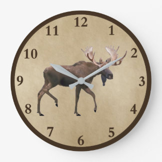 Bull Moose On Parchment Large Clock
