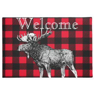 Bull Moose Red and Black Buffalo Check Plaid Doormat
