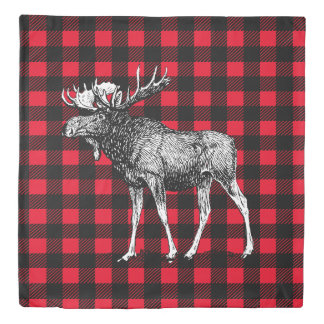 Bull Moose Red and Black Buffalo Plaid Duvet Cover