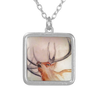 BULL OF THE WOODS STRENGTH ELK SILVER PLATED NECKLACE