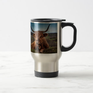 Bull on Grass Travel Mug