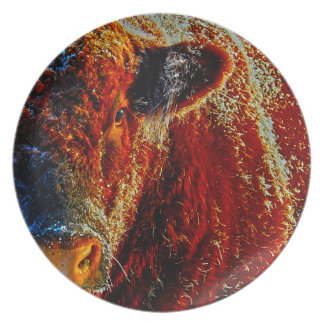 Bull on Ice Melamine Plate