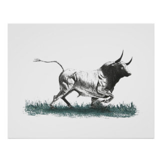 Bull pen and ink black and white poster