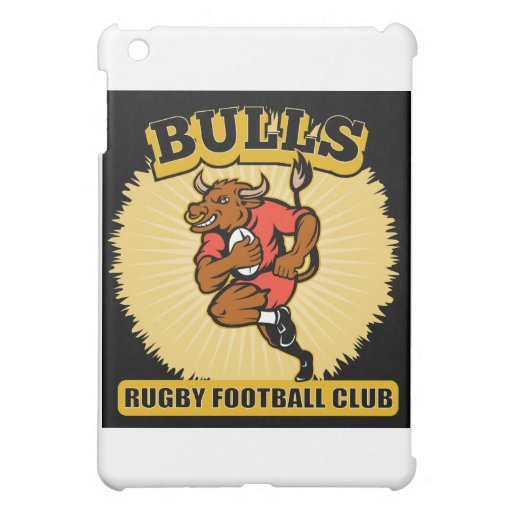 Bull playing rugby running with ball iPad mini case