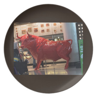 Bull Power Red Furious Animal Fighting Fit Friend Dinner Plate
