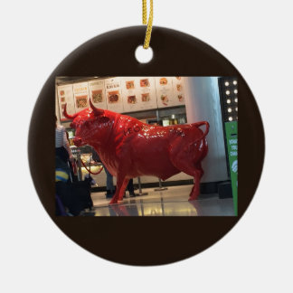 Bull Power Red Furious Animal Fighting Fit Friend Round Ceramic Ornament