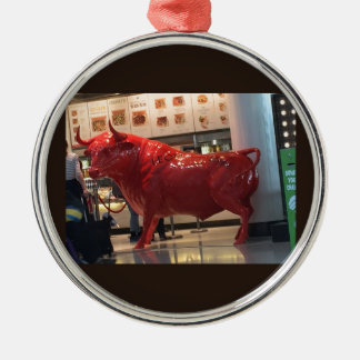 Bull Power Red Furious Animal Fighting Fit Friend Silver-Colored Round Ornament
