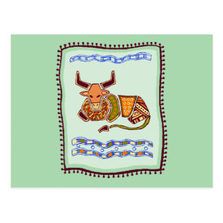 Bull Quilt Postcard