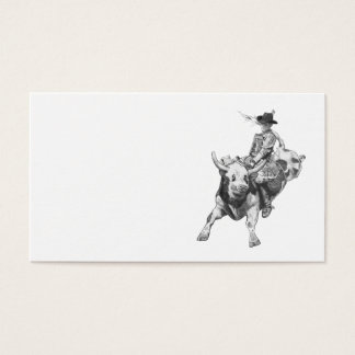 Bull Rider, Drawing, Tough, Strong, Rodeo Business Card