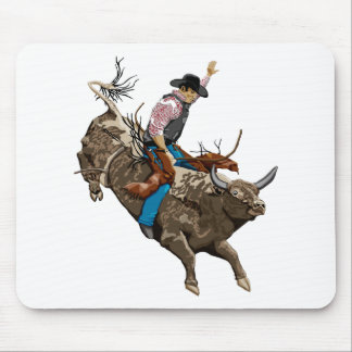 Bull rider mouse pad