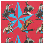 Bull Riding Cowboys Rodeo Western Fabric