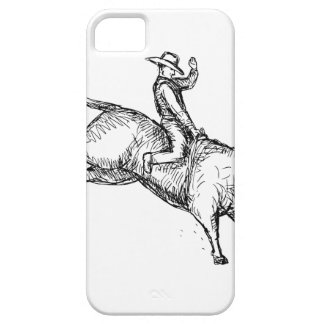Bull Riding Rodeo Cowboy Drawing iPhone 5 Case