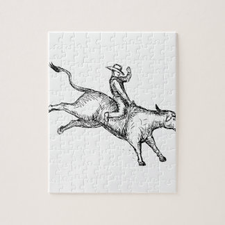 Bull Riding Rodeo Cowboy Drawing Jigsaw Puzzle