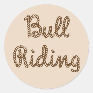 Bull Riding Round Sticker