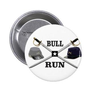 bull run blades crossed 2 inch round button