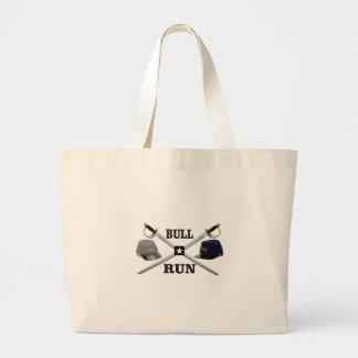bull run blades crossed large tote bag