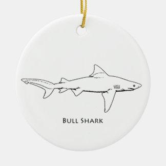 Bull Shark (line art) Ceramic Ornament