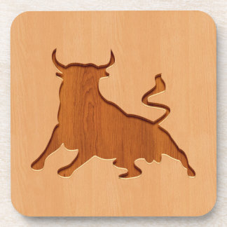 Bull silhouette engraved on wood design drink coasters